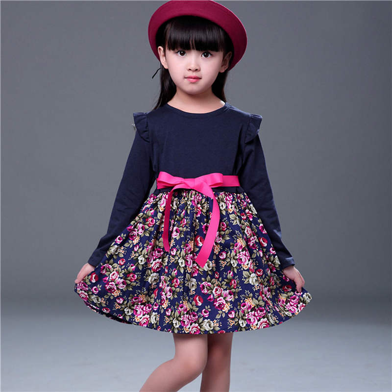 Winter Princess Dress for Girl Autumn New Year Kids Long Sleeve Clothes Floral Print Dresses with Bow Tie Children Warm Clothing