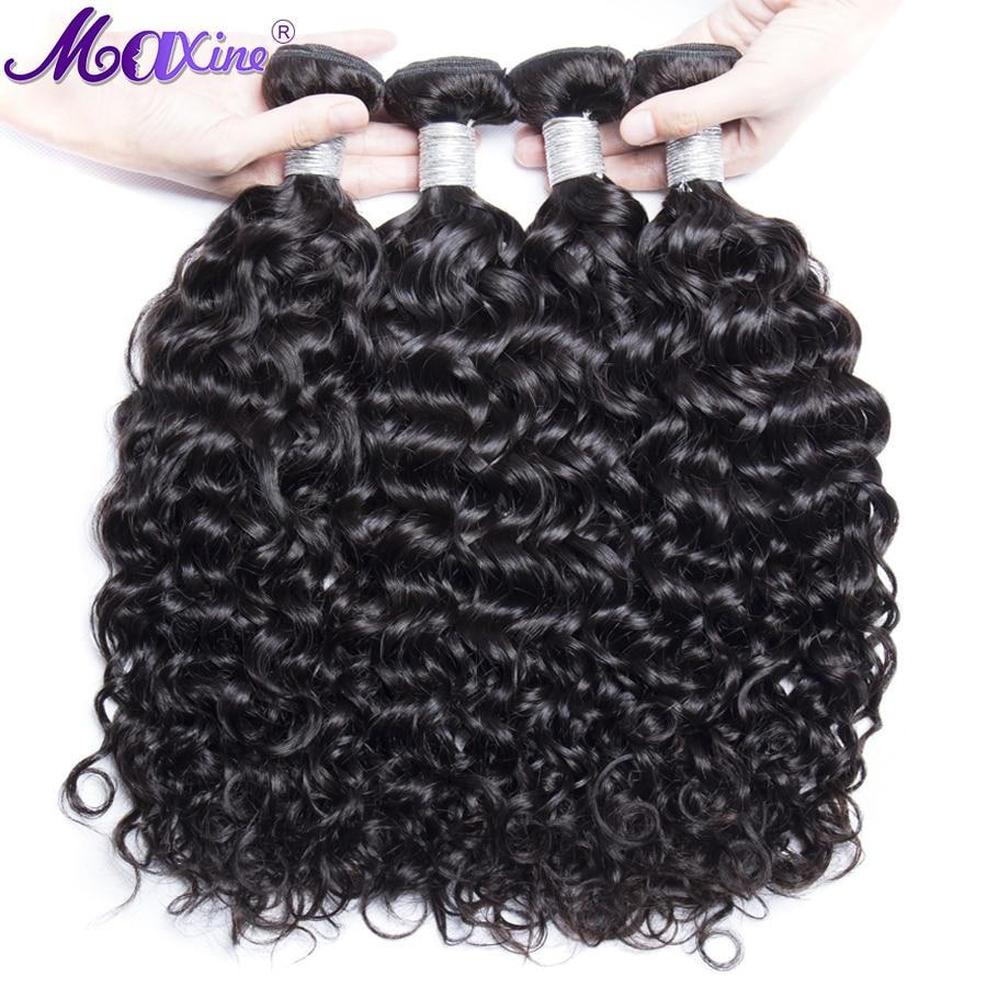 Maxine Hair 4 Bundle Deals Brazilian Water Wave 100 Weave Bundles Remy Human Hair Extensions Natural