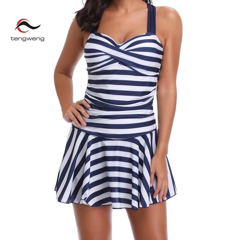 5798d80072ce A rayas 2019 Halter mujer bikini estilo Tankini nadar falda bandeau empuja  hacia arriba el traje de baño fruncido el Control de la panza de baño ...
