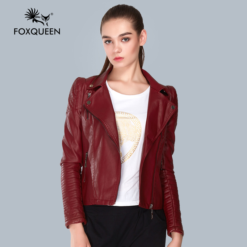 Foxqueen 2016 autumn spring ladies clothing leather jacket for Red leather shirt for womens