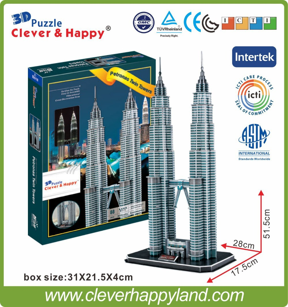 new clever&happy land 3d puzzle model Petronas Twin Towers adult puzzle diy paper warsaws model games for children paper
