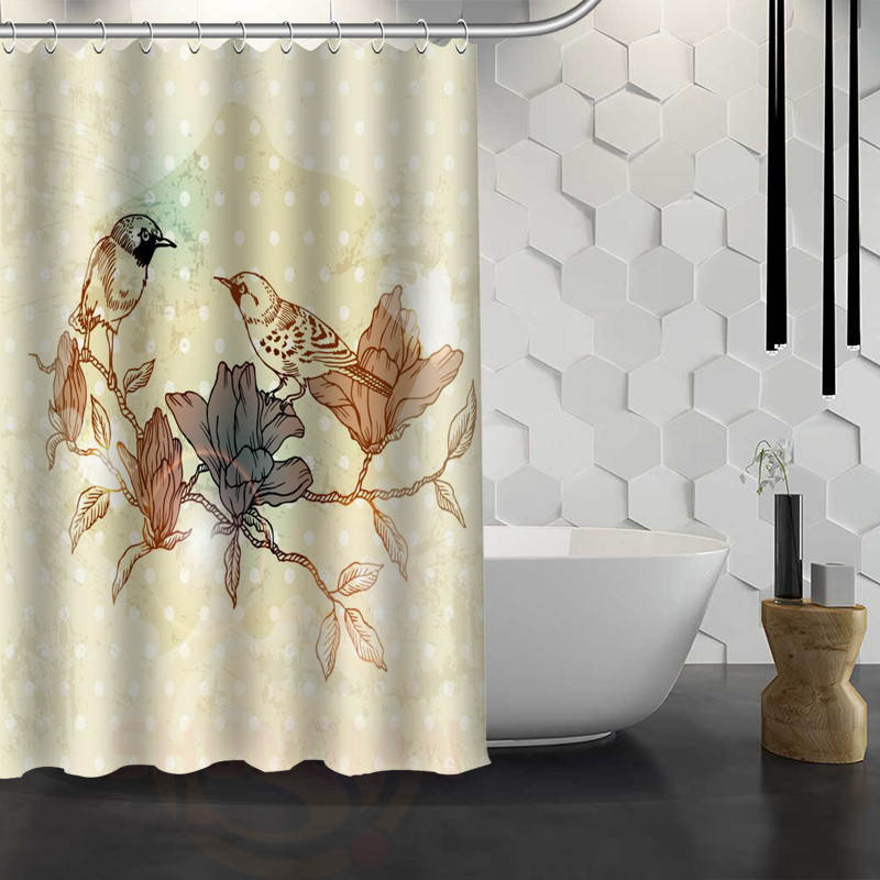 new birds painting art custom shower curtain waterproof fabric bath curtain for bathroom wjy117