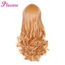 Plecare Ombre 3 Color Synthetic Wig Long Wavy Hair 24 Inches Blonde Cosplay Wigs For Black Women Ombre Hair Synthetic Wig long center parting corn hot wavy colormix synthetic wig
