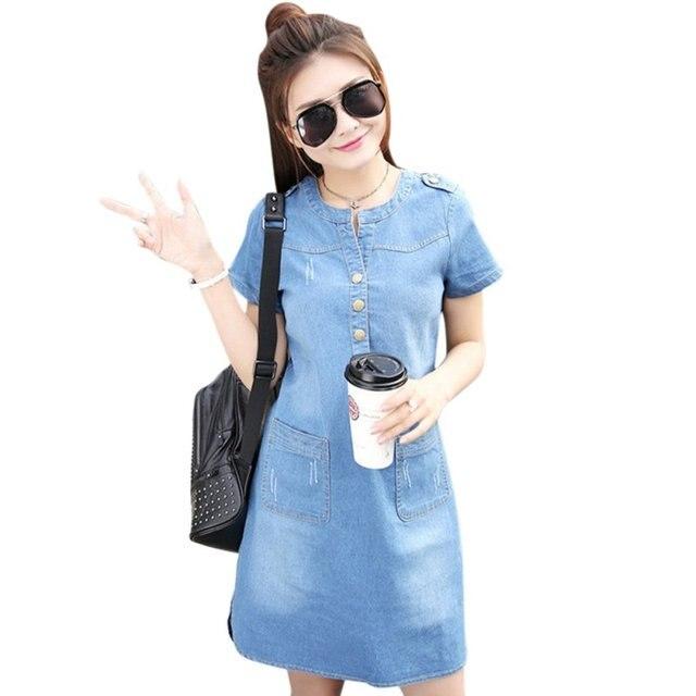 afd96de346e Women Solid O-neck Short Sleeve Plus Size A Line Denim Dress Vestidos Party  Dresses Slim Casual Office Denim Jeans Dress Robe