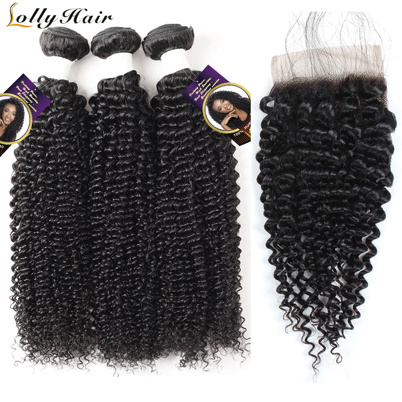 Lolly Hair Malaysian Hair Bundles With Closure Free Part Swiss Lace Closure 3 Pcs Remy Curly Human Hair Bundles With Closure
