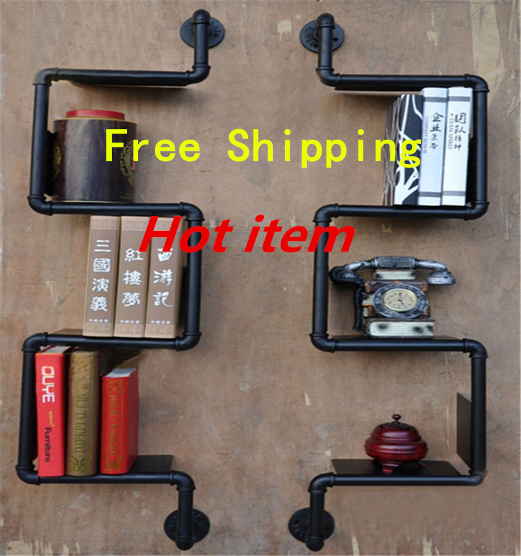 Free Shipping Iron Pipes Bookshelf American Country to do the Old Industrial Pipe Wall Racks Wrought Iron Bookcase Shelves-Z26 zakka do the old vintage american country three blackboard bar display clothing racks cafe wood craft