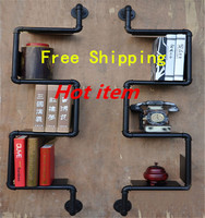 Free Shipping Iron Pipes Bookshelf American Country to do the Old Industrial Pipe Wall Racks Wrought Iron Bookcase Shelves Z26