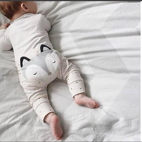 Retail 2016 New INS Style Baby Pants Boy Girl Cartoon Fox Polka Dot Cotton Long PP Pants Kids Clothing PA034