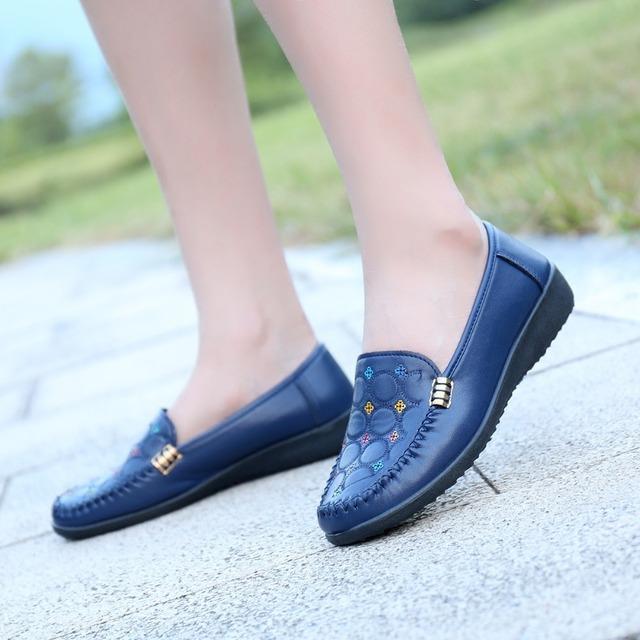 Women's Flats Shoes Woman Round Toe Slip-On Print Loafers Polyurethane PU Plain Casual Pig Leather Mother Sapatos Shoes TB269