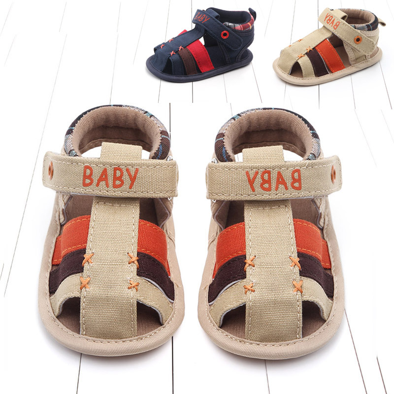Baby Girl Sandals Summer Baby Boy Shoes Cotton Canvas Velcro Baby Girl Sandals Newborn Baby Shoes Beach Sandals Leisure style