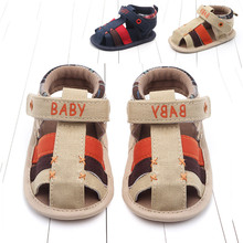 Baby Girl Sandals Summer Boy Shoes Cotton Canvas  Velcro Newborn Beach Leisure style