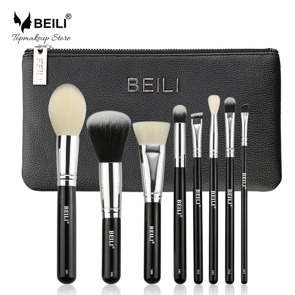 BEILI 8pcs Makeup brush set Black goat hair Synthetic Powder Foundation blusher eye shadow Concealer Basic Cosmetic bag