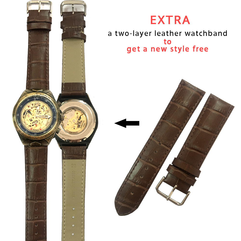 HTB19w dTb2pK1RjSZFsq6yNlXXar Steampunk Bronze Automatic Watch Men Mechanical Watches Vintage Retro Leather Transparent Skeleton Watch Man Clock montre homme