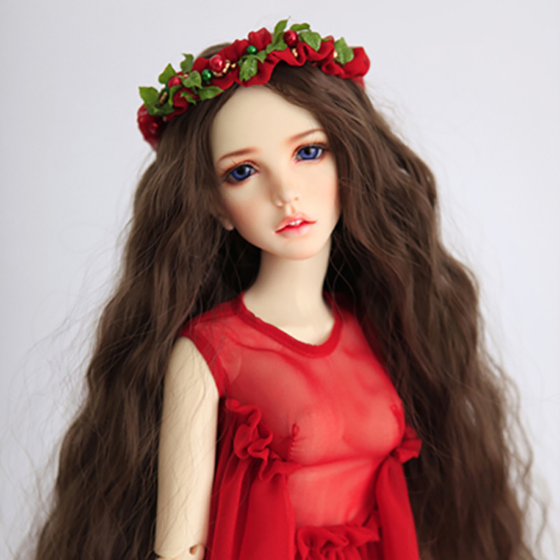 все цены на Allaosify BJD SD giant baby doll wig long curly brown 1/3 1/4 1/6 1/8 hair BJD wigs онлайн