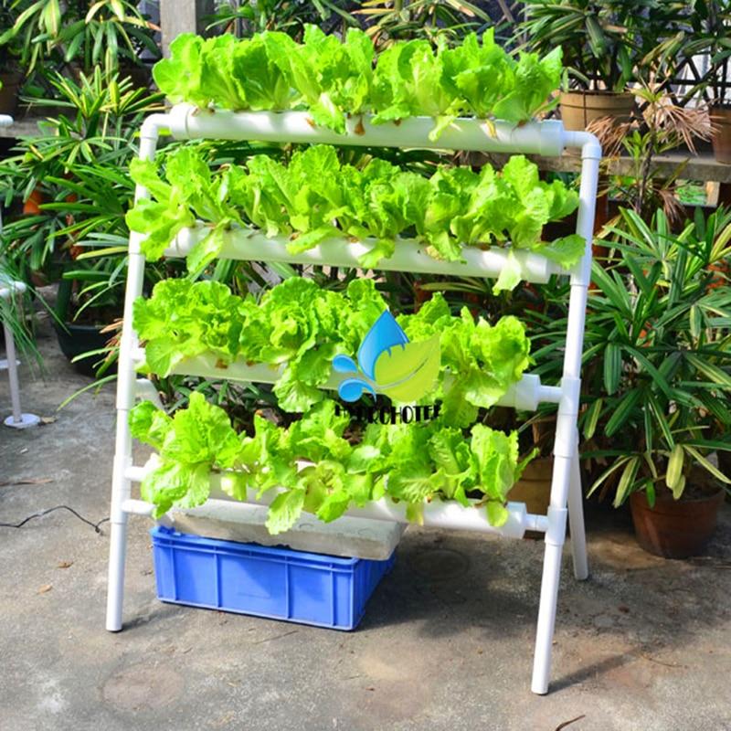 NFT hydroponics grow system PVC tube 36Pcs net pot 4 pipe Include Water pump Timer DIY Parts