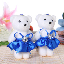 12PCS/LOT 12CM mini model PP cotton kid plush toys doll bear flower bouquets accessory material valentine's day gift