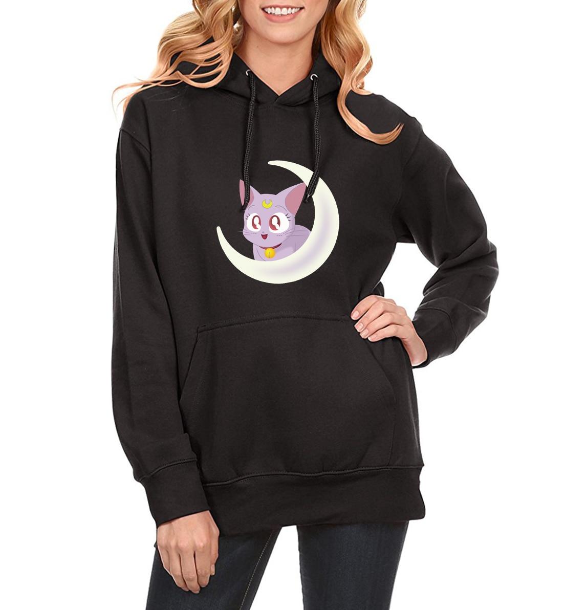 Hoodies For Women New 2019 Spring Fleece Winter Sweatshirt With Hat Print Sailor Moon Brand Hipster Harajuku Hoody Female Kpop