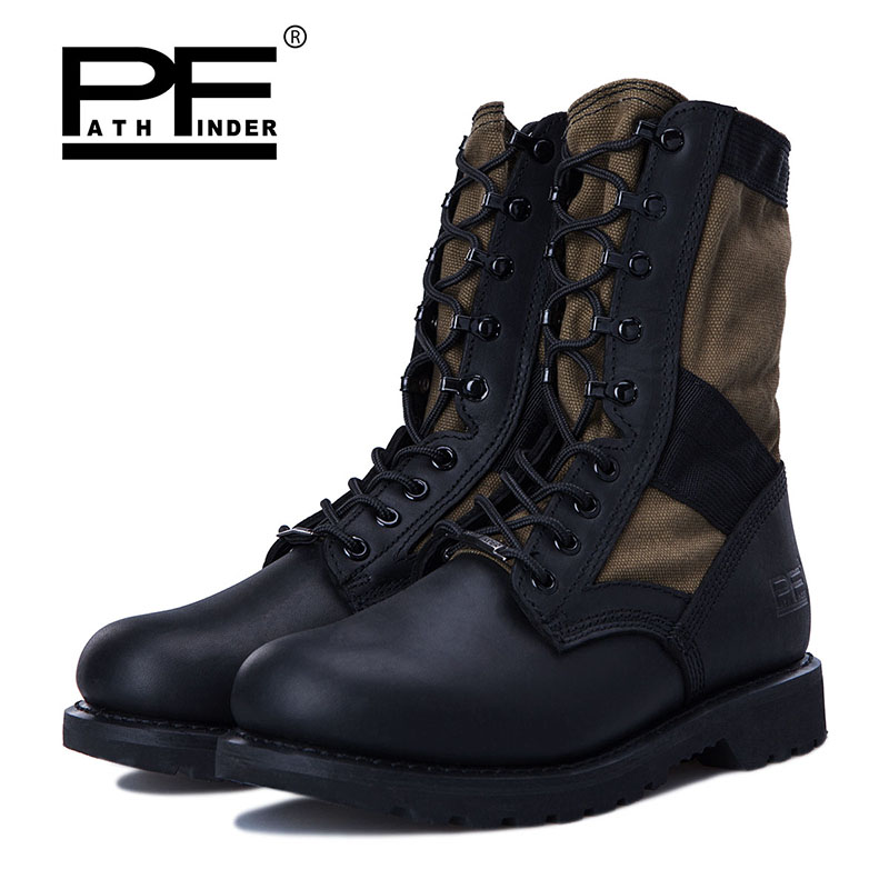 Pathfinder Men Boots Winter Military Combat Boots Outdoor Shoes Platform High Top Non-slip Lace-up Hiking Shoes Ankle Boots