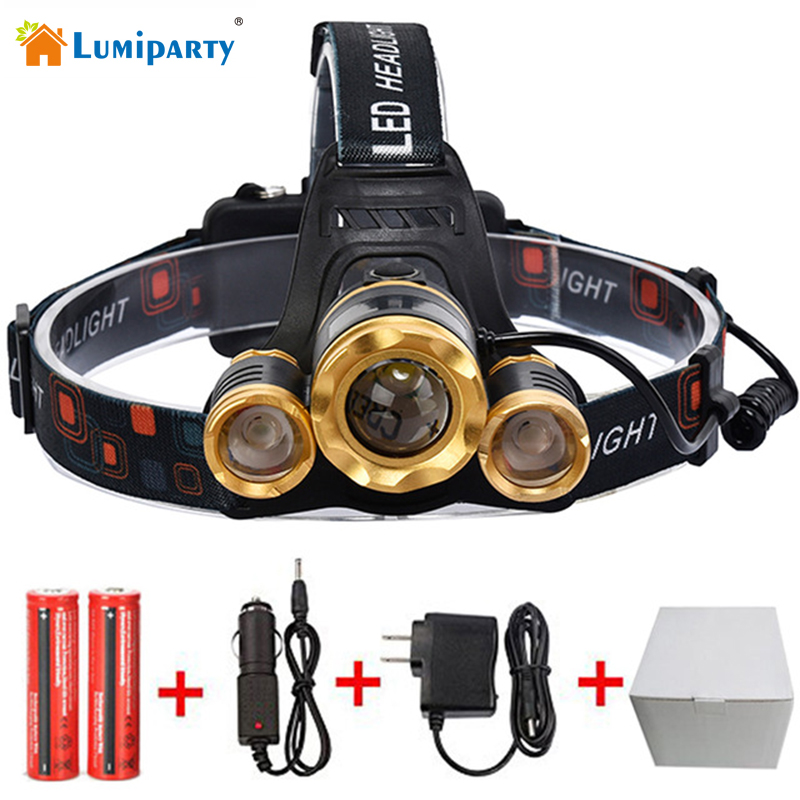 LumiParty LED Headlight 8000Lm Rechargeable Headlamp Flashlight Head Torch Xml T6+2Q5 18650 Battery Car Charger Fishing Light