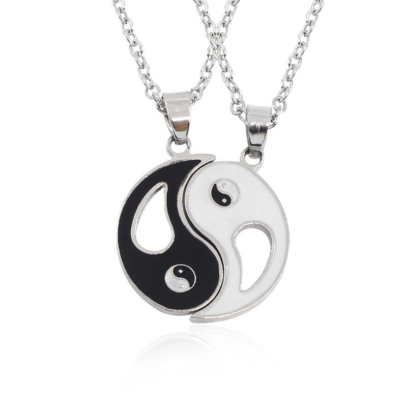 yin yang bracelet for couples 2 pcs best friends necklace jewelry yin yang chi 4313