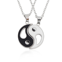 2 PCS Best Friends Necklace Jewelry Yin Yang Tai Chi Pendant Necklaces Black White Couples