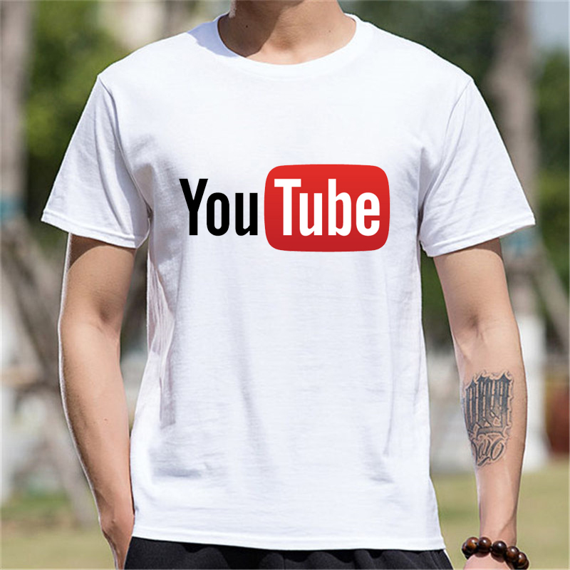 Teenage Youth Short Sleeve Tshirt Men Clothes YouTube Logo Print Cotton Funny T Shirt Men