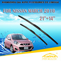"Escovas Para NISSAN MARCH (2010-) Car Windscreen Windshield Wiper Wiper Blade 21 ""+ 14"" Carros styling acessórios transporte rápido"