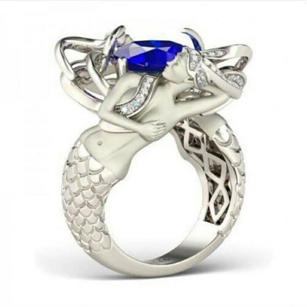Luxury unique mermaid silver jewelry ring personality charm female ring woman ring wedding gift