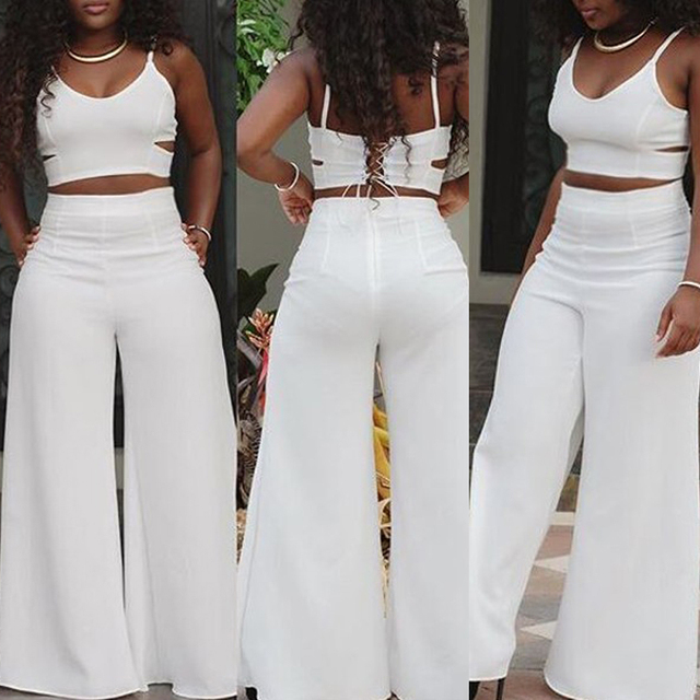 6ca482580d3 Plus Size Women Clothing S-XL Fashion White Jumpsuit For Women Two Piece  Outfits Novelty Hollow Out Loose Black Bodycon Jumpsuit