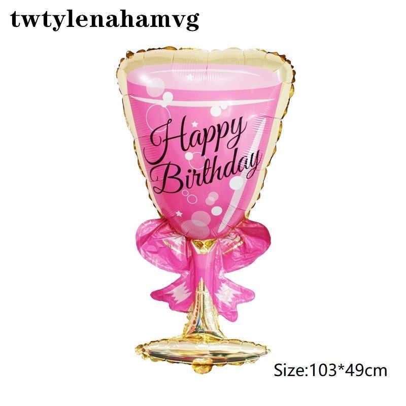 Nuevo globo de papel de aluminio con forma de botella de vino tinto para fiesta de feliz cumpleaños, decoración de boda, globos de aire, celebración de uvas, festival, Fiesta, bola temática