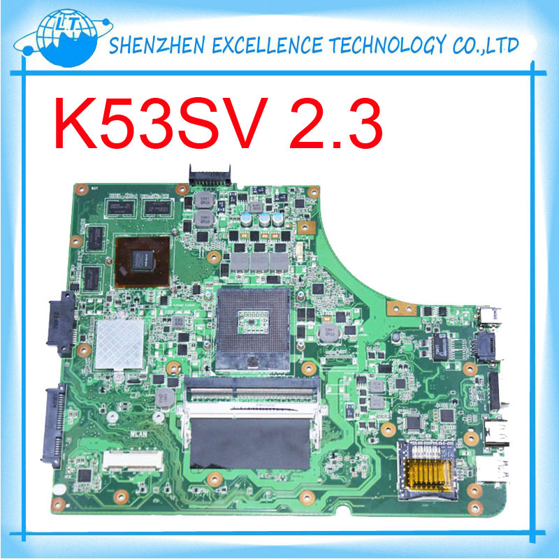 ФОТО K53SV 1G 8 pcs of storage laptop motherboard for asus  K53SV REV 2.3 GT540 fully test before shipping
