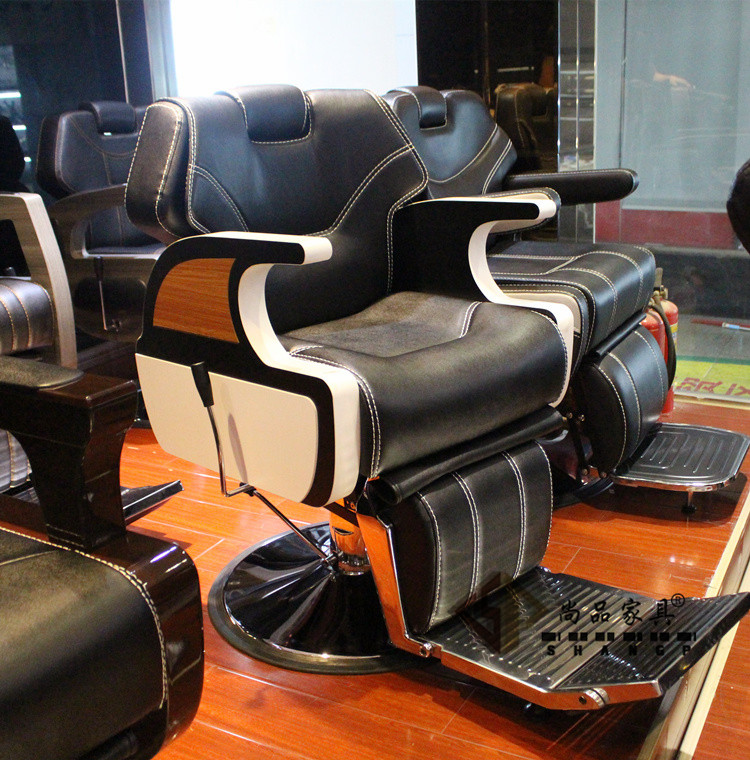 High-end haircut chair. Hairdressing chair beauty-care big chair can be put down the silver chair