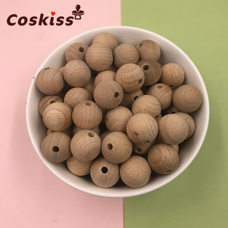 Beech Wooden Chewable 10-20mm Round Beads Ecofriendly Beech Beads DIY Craft Jewelry Accessories Baby Teether