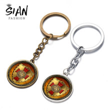 SIAN Knights Templar Keychain Cross Shield Handmade รูปภาพ Cabochon Key Ring Key Chain รถของขวัญ Masonic ผู้ชาย(China)
