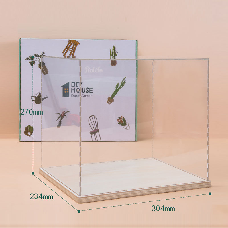 Robotime Dust Cover For Dollhouse Music Box Display Box Transparent Waterproof Large Plastic Case 3mm Acrylic Board