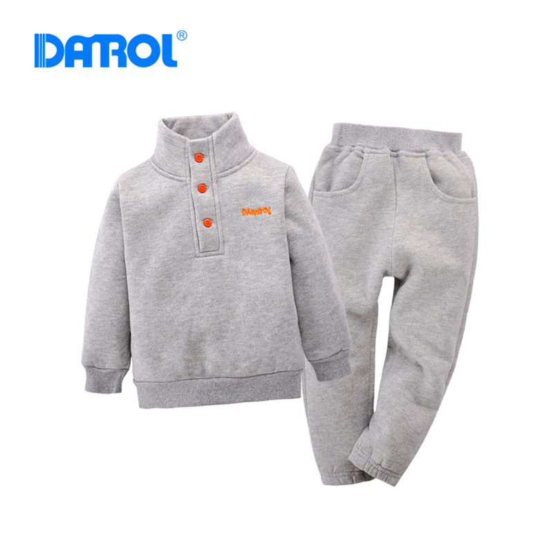 DANROL 2Pcs Baby Boy Clothes Keep Warm Long Sleeve Hoodies+Pants Red Yellow Grey Kids Clothes Solid Fleece Baby Girl Clothes V20