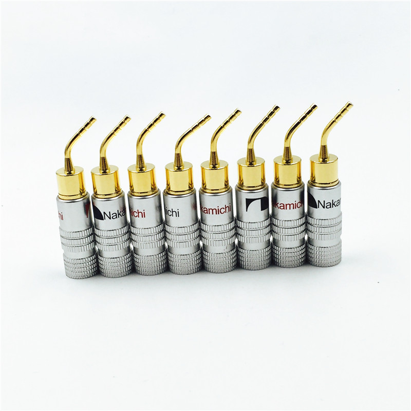 8pcs  High Quality New 24K Gold Nakamichi Speaker Pin Angel 2mm Banana Plugs Speaker wire Screw Lock Connector