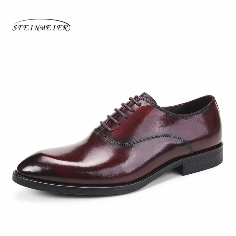 Phenkang hommes en cuir chaussures hommes en cuir véritable oxford chaussures pour hommes robe noire chaussures menwedding chaussures en cuir grande taille derbies