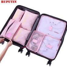RUPUTIN 7 pz/set di Viaggio Bagagli Organizzatore Vestiti Kit di Finitura Sacchetto Di Immagazzinaggio Sacchetto Cosmetico Sacchetto di Immagazzinaggio toiletrie Casa Accessori Da Viaggio