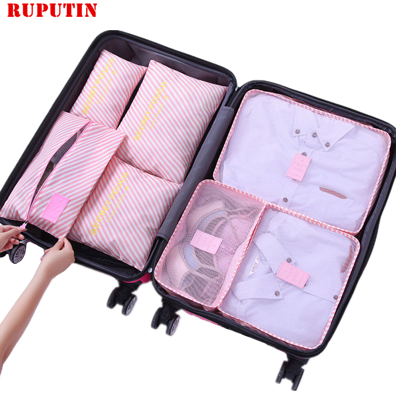 RUPUTIN 7Pcs/set Trip Luggage Organizer Clothes Finishing Kit Storage Bag Cosmetic Toiletrie Storage Bag Home Travel Accessories