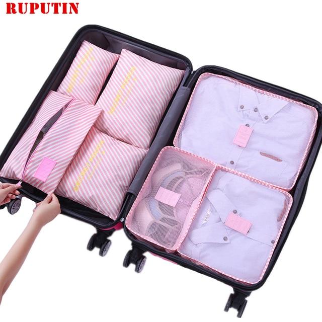 RUPUTIN 7Pcs/set Trip Luggage Organizer Clothes Finishing Kit Storage Bag Cosmetic toiletrie Storage Bag Home Travel Accessories