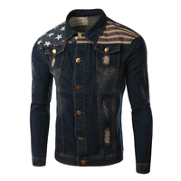 Brand Denim Jacket Men 2017 Fashion American Flag Patchwork Design Jean Jacket Men Casual Stylish Mens Jeans Jacket 4Xl