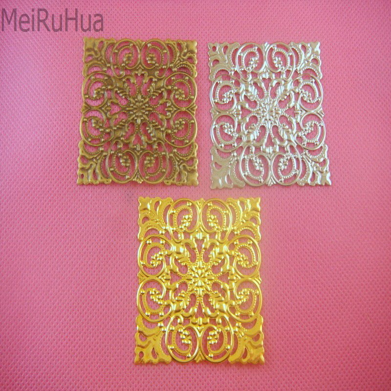 20 Pcs 5.1cm Metal Filigree Flowers Jewelry Accessory DIY Components Findings For DIY Jewelry