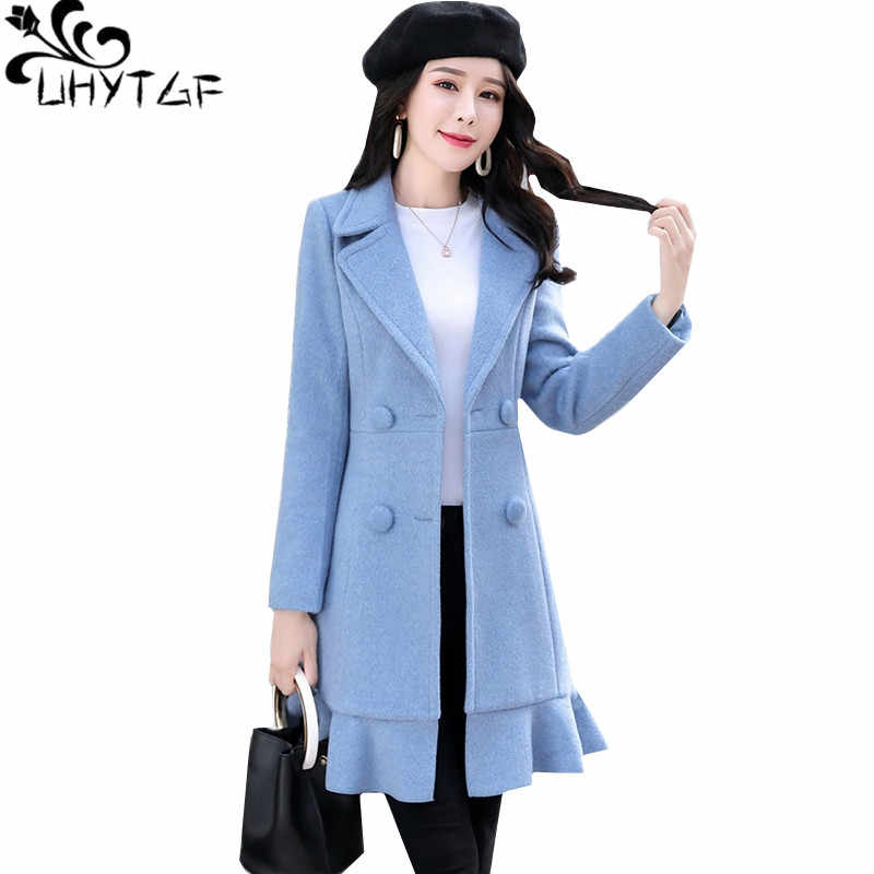 UHYTGF Autumn Winter New Wool Jacket Women Slim Skirt style long Windbreaker Outerwear Belt Double breasted Woolen coat 3XL910