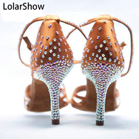 New Gilrs Nude Satin Crystal Rhinestone Ballroom SALSA Latin Shoes 5.5cm/7.5cm /8.5cm Kids Shoes