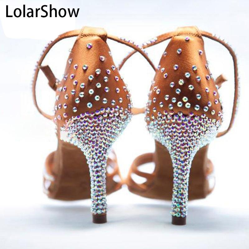 Nouveau doré nu Satin cristal strass salle de bal SALSA chaussures latines 5.5 cm/7.5 cm/8.5 cm enfants chaussures