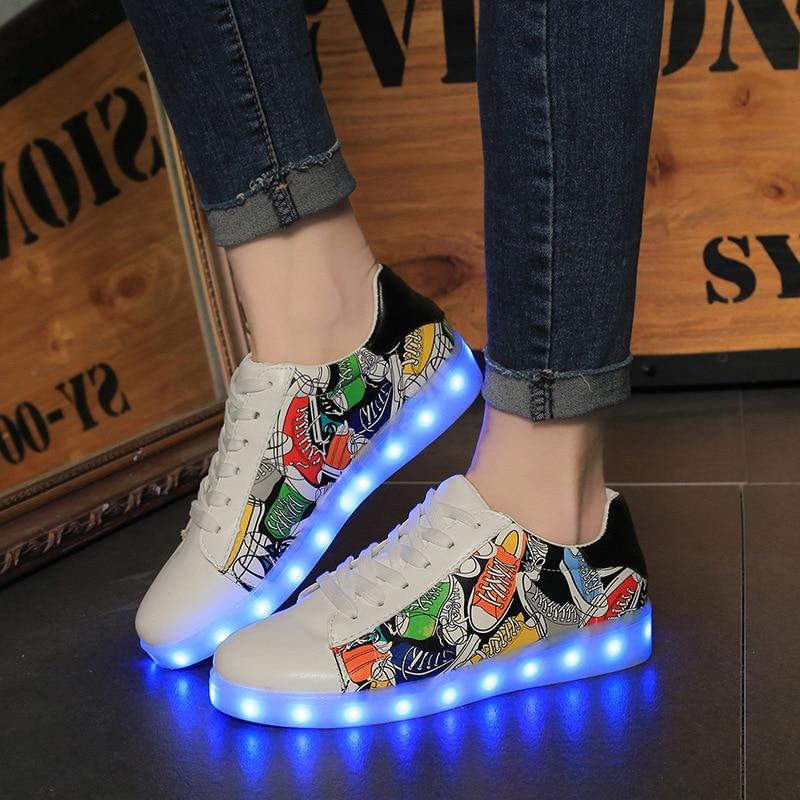 35-45 USB opladning Tenis Feminino Basket Led Light Up Sneakers Kids Boy Girl Lysende Led Sneakers Glødende Sko Led Toppe