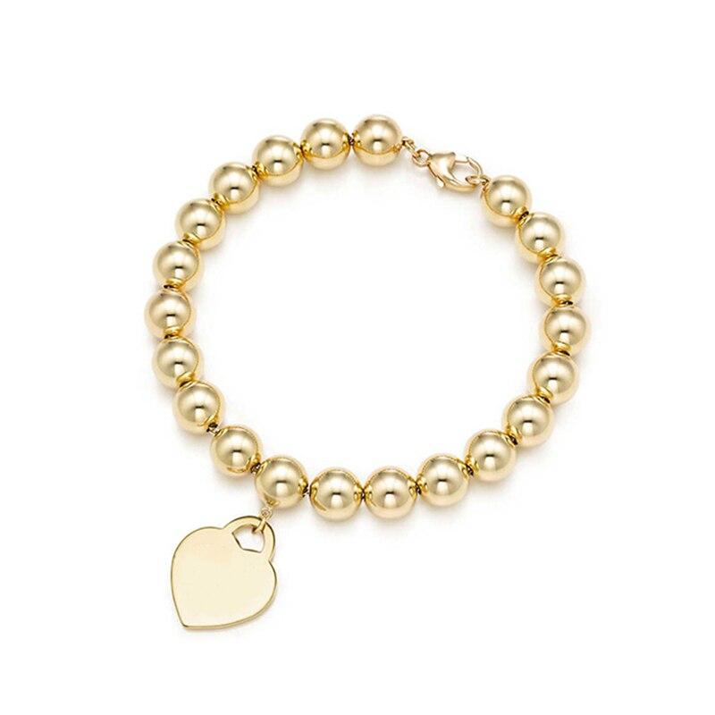 SHINETUNG Original 100% S925 argent Sterling couleur or en forme de coeur perlé Bracelet à la mode femmes Logo luxe bijoux haut de gamme