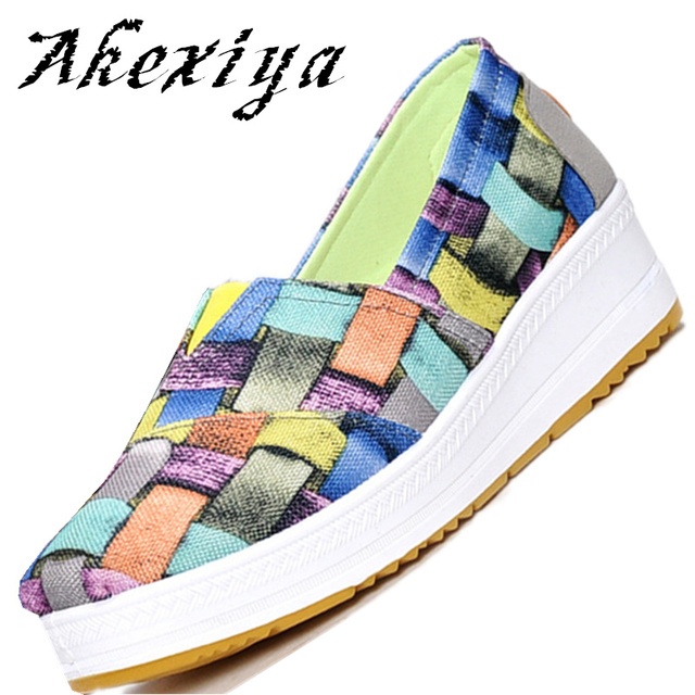 Spring Summer 2017 Lose weight Swing shoes Wedge High quality canvas shoes for women Breathable zapatos tenis feminino 58-418 3D