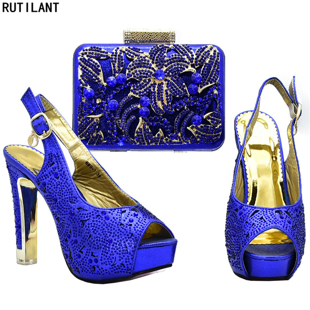 Latest Design Women Italian African Party Pumps Shoes and Bag Set Decorated  with Rhinestone Nigerian Women Shoes and Bag Sets 63902ebe64ba
